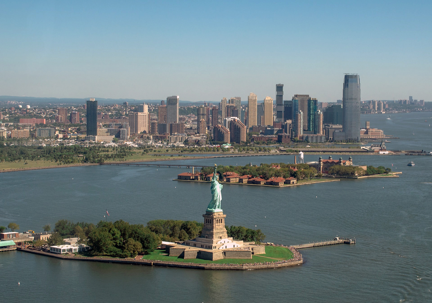 Aerial view of Liberty and Ellis islands