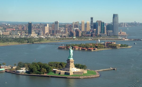 Statue of Liberty seen from helicopter