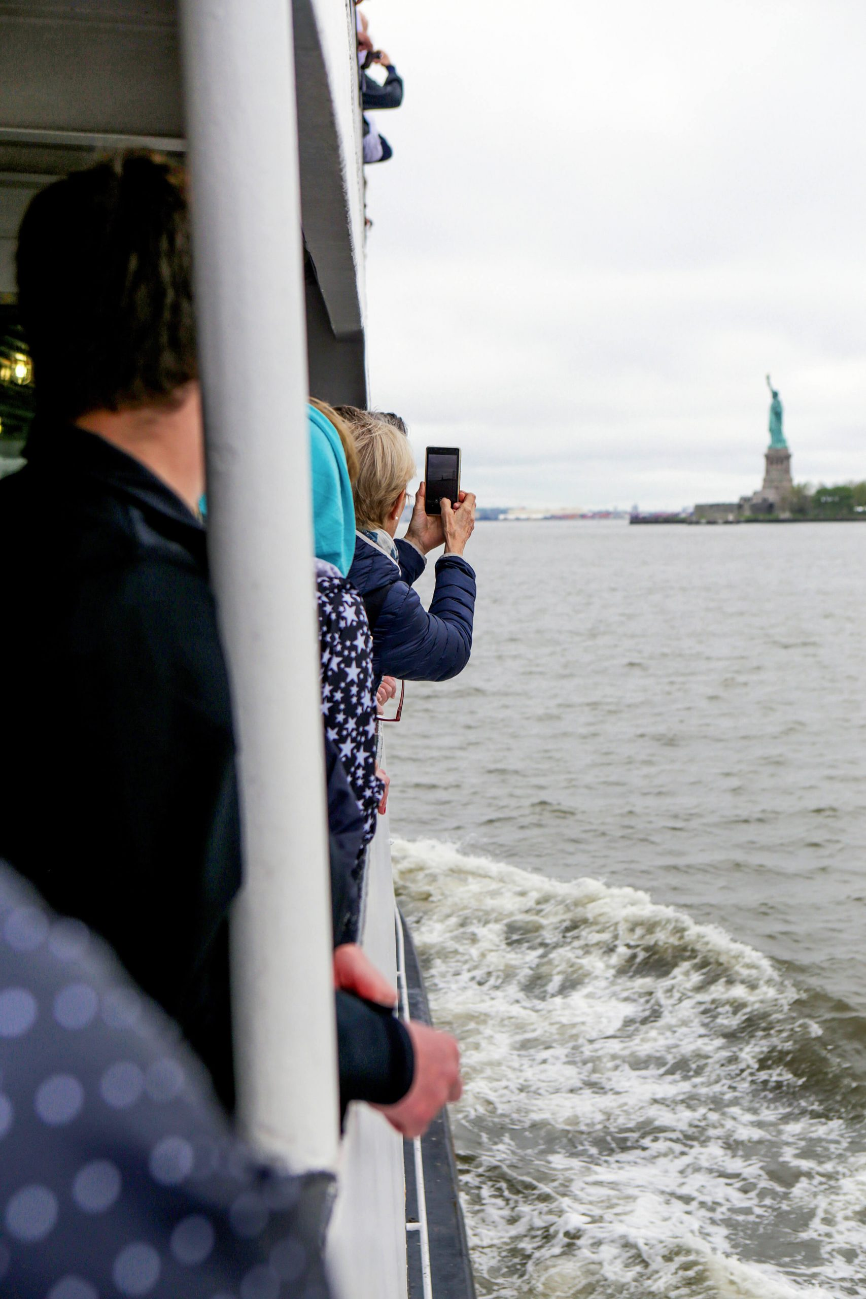 On the boat to the statue of liberty