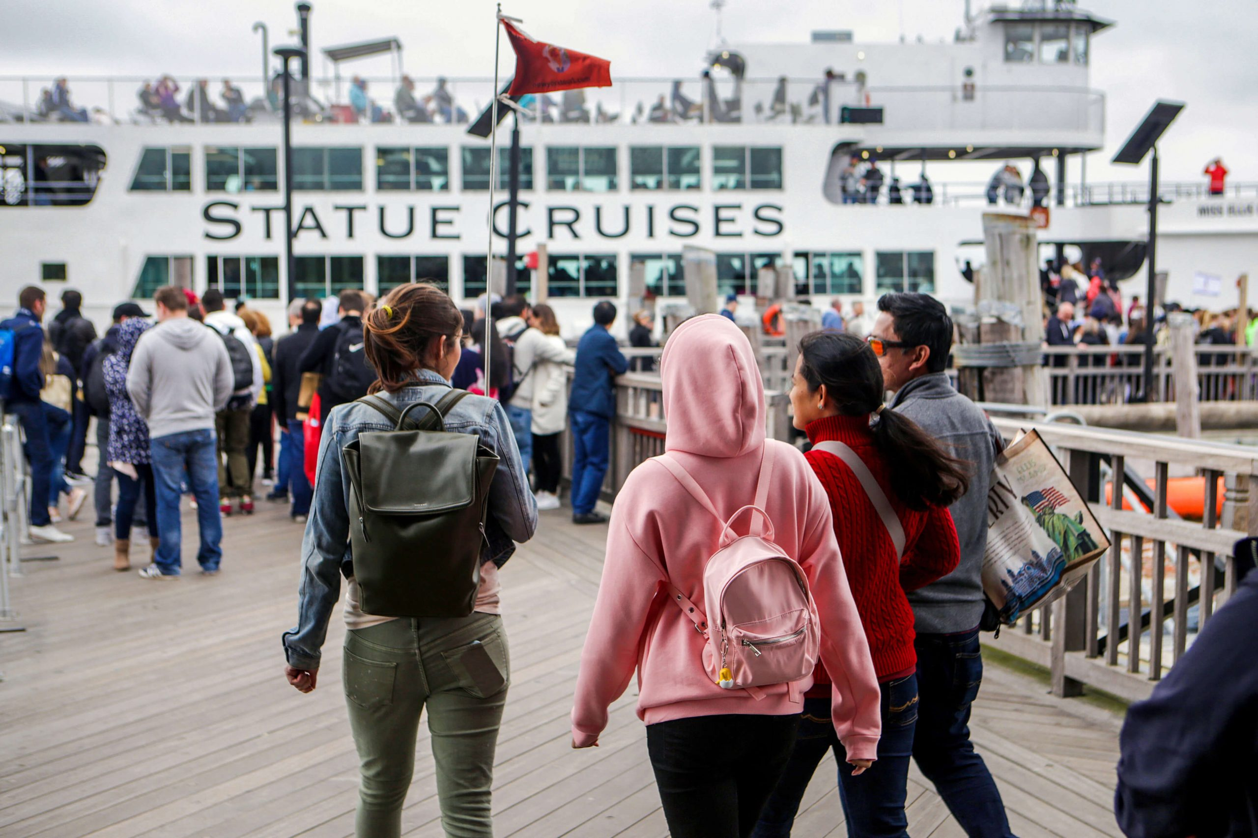 Boarding the ferry from Liberty Island