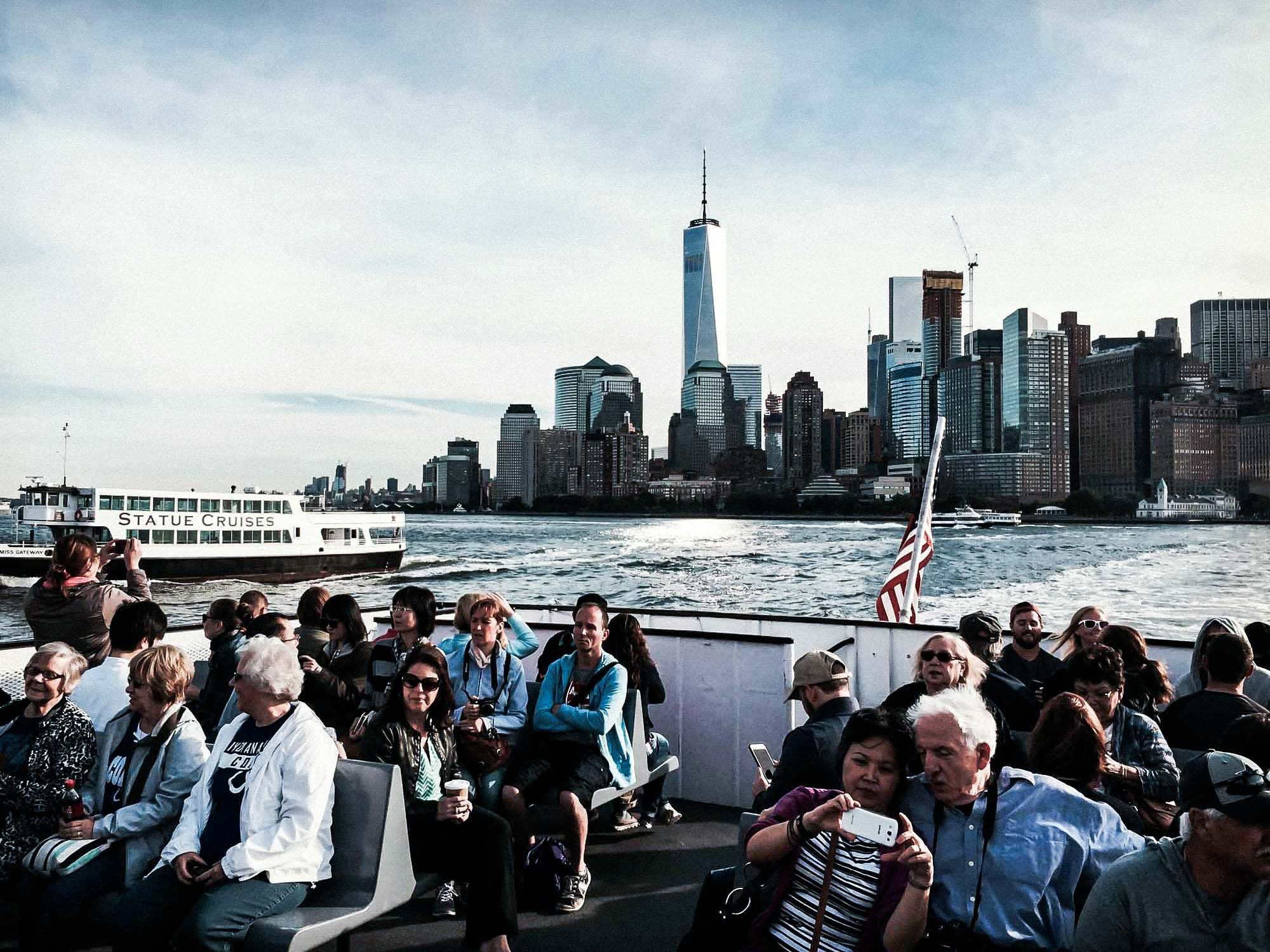 Ferry boat visiting the statue of liberty