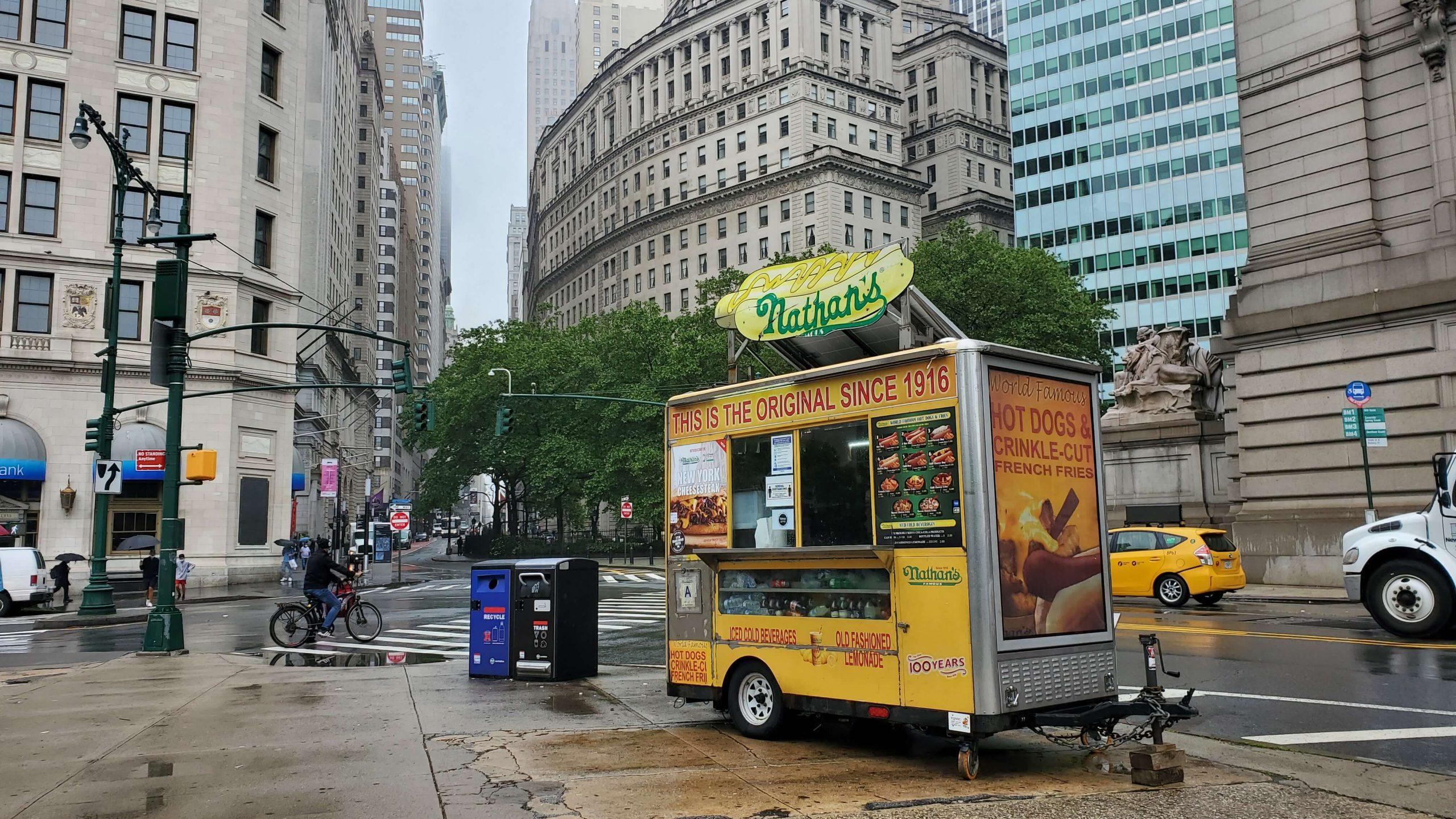 Nathan's Hot Dog Cart, Battery Park